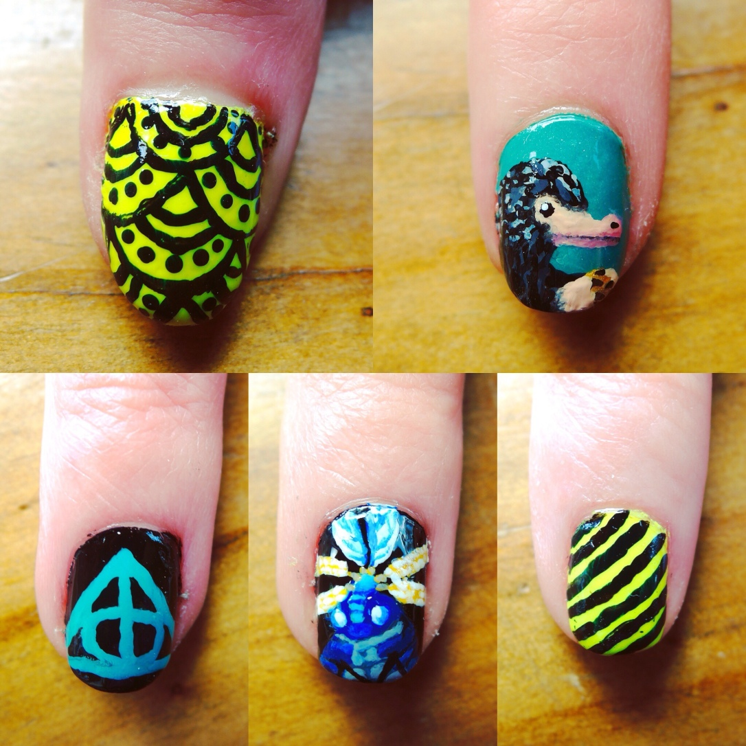 Fantastic Beasts nails (Right hand)